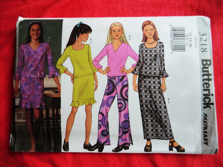 Butterick Pattern # 3218 UNCUT Girls Top Skirt Pants Size 12 14 16