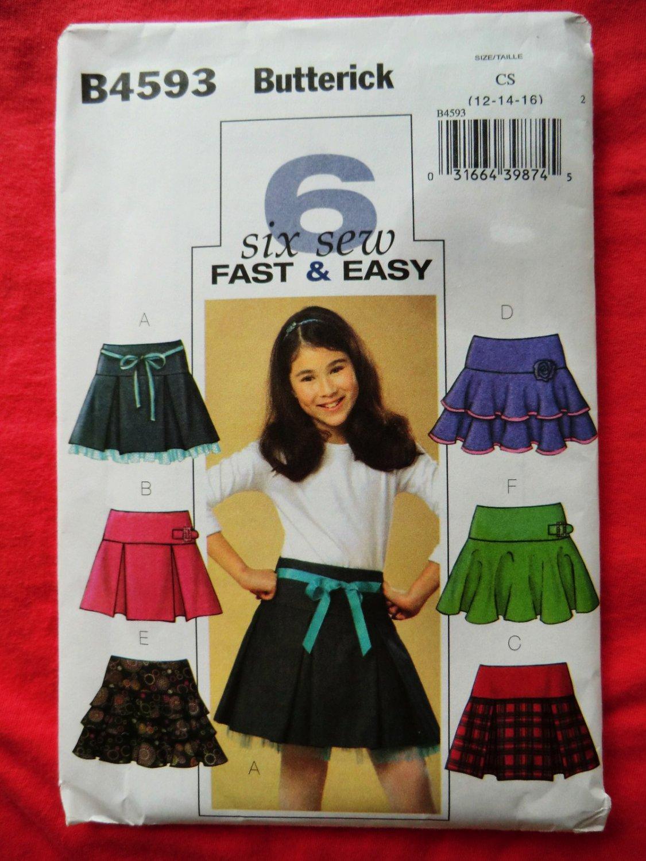 Butterick Pattern # 4593 UNCUT  Girls Pleated Layered Tiered Yoke Skirt Size 12 14 16