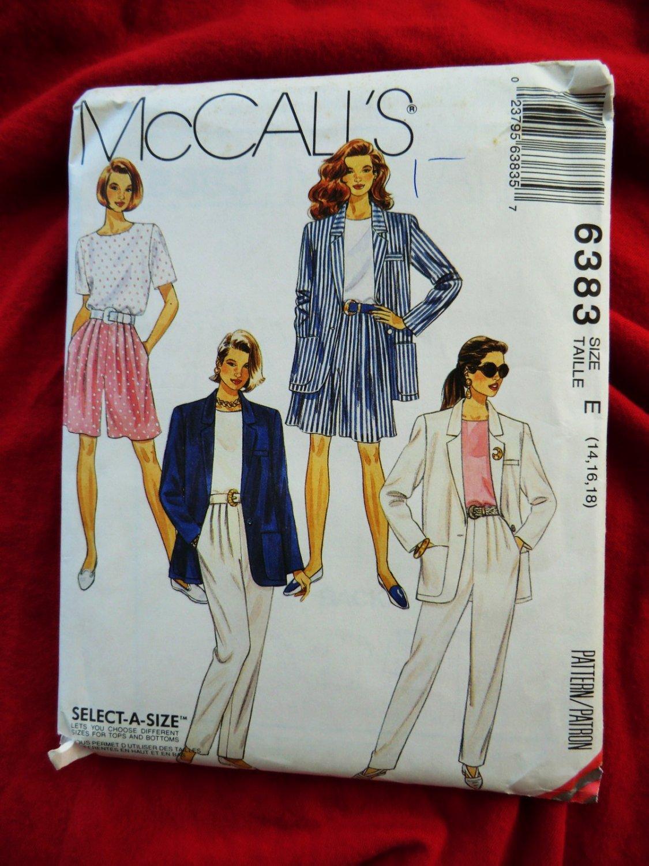 McCalls Pattern # 6383 UNCUT Misses Jacket Top Pants Shorts Size 14 16 18
