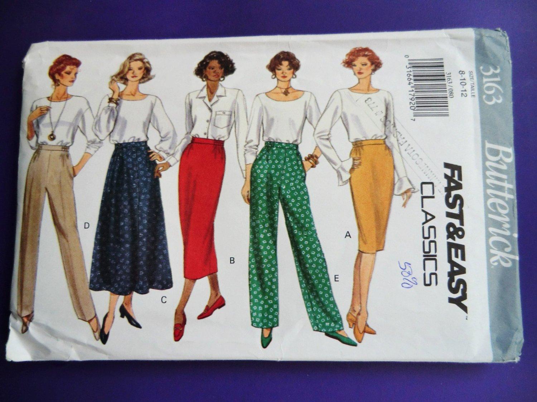 Butterick Pattern # 3163 UNCUT Misses Pants Skirt Size 6 8 10