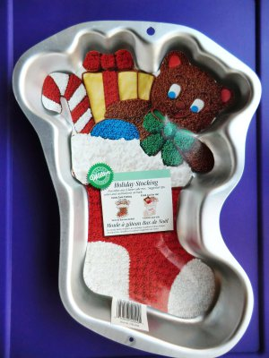 WILTON 1999 Cake Pan Mold HOLIDAY STOCKING With Insert # 2105-2040