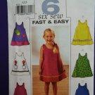 Butterick Pattern # 3772 UNCUT Toddler Dress ~ Appliqué Variations Size 1 2 3