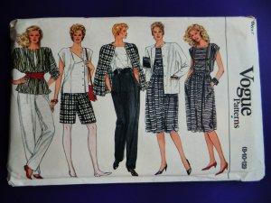 Vogue Pattern # 8617 UNCUT Misses Top Jacket Pants Shorts Skirt Size 8 10 12