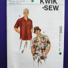 Kwik Sew Pattern # 2935 UNCUT Mens Hat Hawaiian Shirt Button Down Size S M L XL XXL