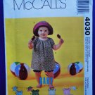 McCalls Pattern # 4030 UNCUT Infant Baby Top Pants Hat Size Small  Medium Large