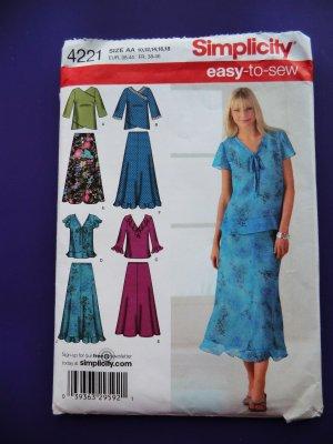 Simplicity Pattern # 4221 UNCUT Misses Top Skirt Size 10 12 14 16 18