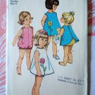 Simplicity Pattern # 6488 UNCUT Girls Toddler Playsuit Pinafore Size 4 Vintage 1966