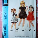 McCalls Pattern # 9340 UNCUT Girls Dress Apron Size 4 Vintage 1968