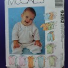 McCalls Pattern # 9292 UNCUT Baby Infant Layette STRETCH KNITS Small Medium