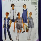 McCalls Pattern # 8757 UNCUT Misses MATERNITY Top Shirt Pull-On Pants Size 8 10 12