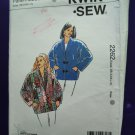 Kwik Sew Pattern # 2262 UNCUT Misses Coat Dolman SleevesSize XS Small Medium Large XL