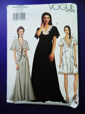 SOLD! Vogue Pattern # 7527 UNCUT Misses Womans Nightgown and Bed Jacket Size 20 22 24
