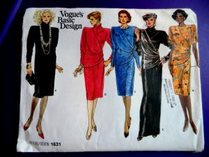 Vogue Pattern # 1631 UNCUT Misses Dress Length Sleeve Variations Size 12 14 16