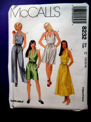 McCalls Pattern # 8232 UNCUT Misses Summer Halter Dress Size 10 12 14