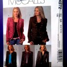 McCalls Pattern # 4972 UNCUT Misses Lined Jacket Variations Size 6 8 10 12
