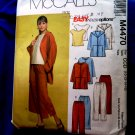 McCalls Pattern # 4770 UNCUT Misses Jacket Top Pants Size 10 12 14 16