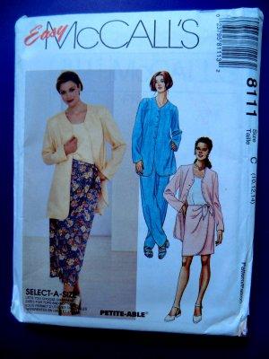 McCalls Pattern # 8111 UNCUT Misses Sarong Top Jacket Size 10 12 14