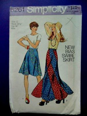 SOLD! Simplicity Pattern # 6261 UNCUT Vintage 1973 Misses Bias Swirl Skirt Waist 26 ½ inches