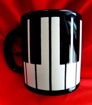 SOLD! Black White Piano Keys Ceramic Coffee Mug Germany