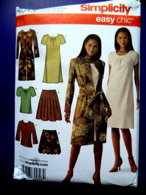 Simplicity Pattern # 4045 UNCUT Misses Dress Skirt Top Jacket Size 6 8 10 12 14