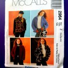 McCalls Pattern # 2964 UNCUT Misses Fleece Jacket Size Large XL XXL