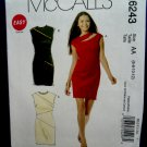McCalls Pattern # 6243 UNCUT Misses Straight Dress STRETCH KNIT Size 6 8 10 12
