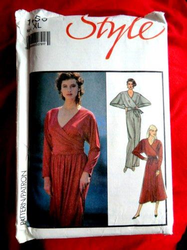 Style Pattern # 1456 Misses Wrap Top Skirt Pants Size XL