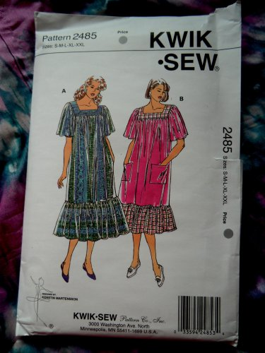 SOLD! Kwik Sew Pattern # 2485 UNCUT Misses Loose Dress Muumuu Size Small Medium Large XL XXL