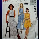 McCalls Pattern # 7608 UNCUT Misses Summer Sleeveless Dress Two Lengths Size 12 14 16