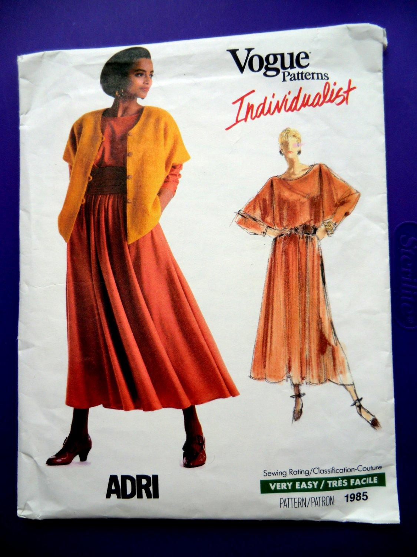 Vogue Pattern # 1985 UNCUT Misses Top Skirt Jacket Size 12