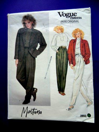 Vogue Pattern # 2853 UNCUT Misses Jacket Top Pants Size 12 ONLY a Paris Original by Designer Montana