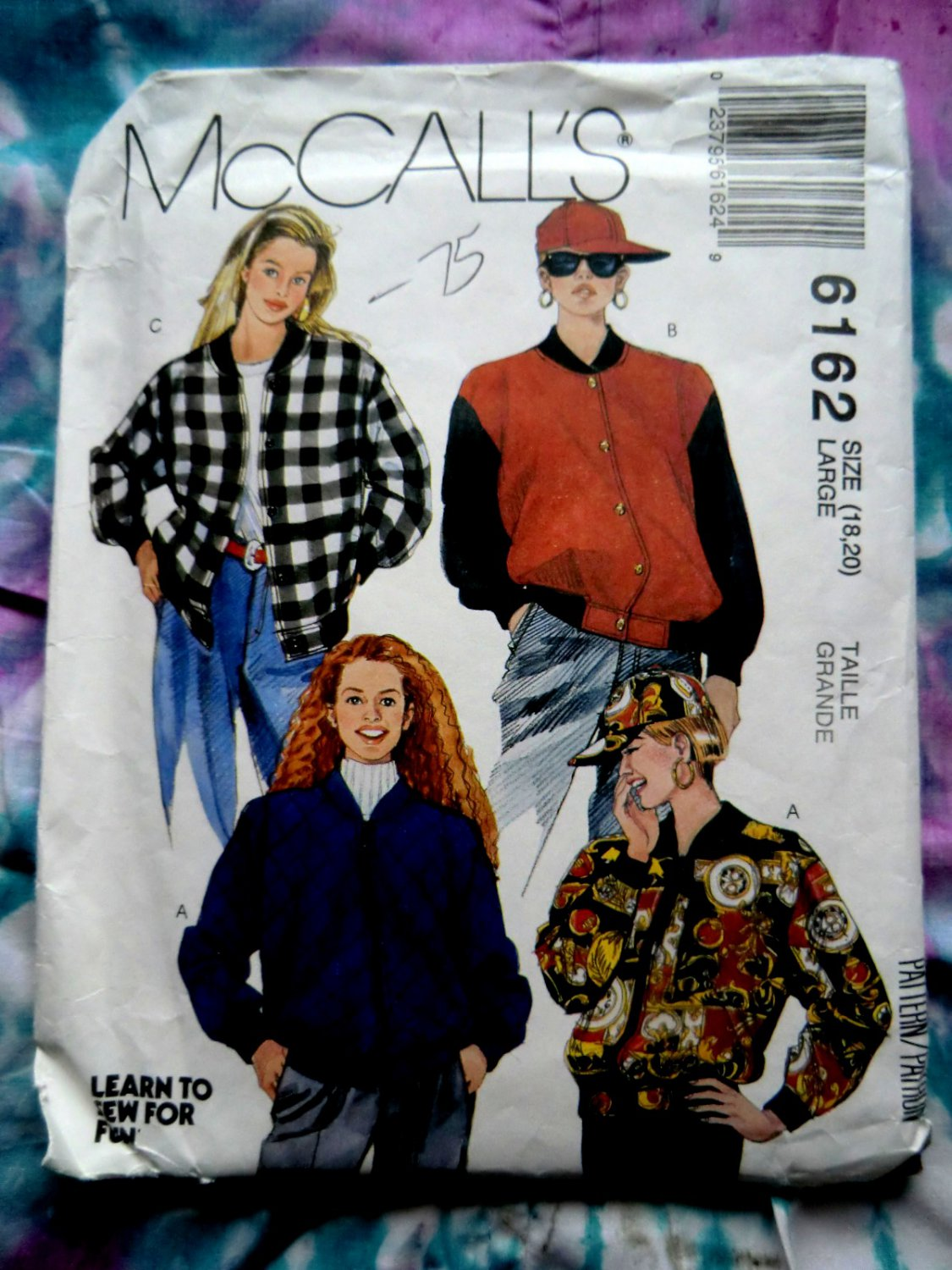 SOLD!  McCalls Pattern # 6162 UNCUT Misses Unlined Jacket (Baseball) Cap Size Large