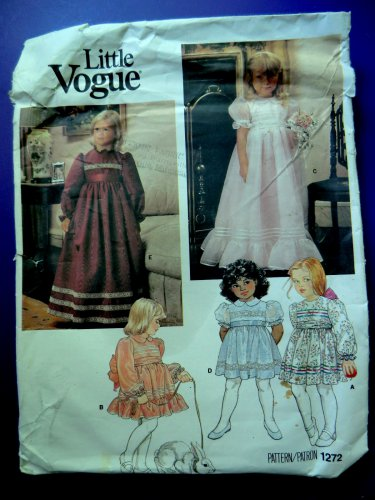 Little Vogue Pattern # 1272 UNCUT Girls Dress Size 4 Special Occasion