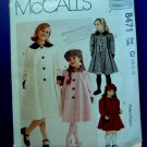 McCalls Pattern # 8471 UNCUT Girls Coat Size 10 12 14 Lined A-Line Coats Back Pleat & Hats