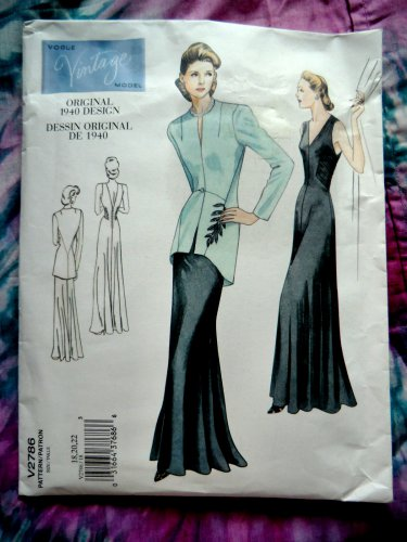 Vogue Pattern #2786 UNCUT Misses Retro Formal Evening Dress Jacket Size 18 29 22