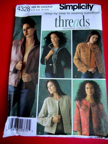 Simplicity Pattern # 4328 UNCUT Misses Jacket Variations Size 14 16 18 20 22.
