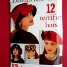 Butterick Pattern # 6308 UNCUT Misses Hats 7 Hat Patterns 3 Head Designs
