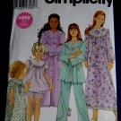 Simplicity Pattern # 5382 UNCUT Girls Pajamas Nightgown Robe Size 7 8 10 12 14