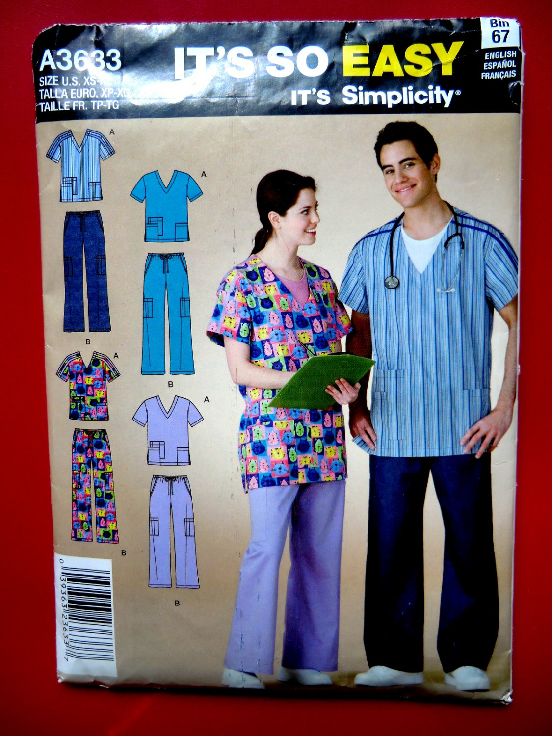 SOLD! Easy Simplicity Pattern # 3633 UNCUT Mens Misses Nurse SCRUBS Size XS Small Medium Large XL
