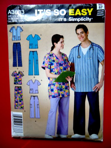 Easy Simplicity Pattern # 3633 UNCUT Mens Misses Nurse SCRUBS Size XS Small Medium Large XL
