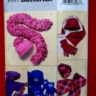 Butterick Pattern # 3981 UNCUT Scarf Hat Gloves ALL SIZES Small Medium Large (Hats and Gloves)