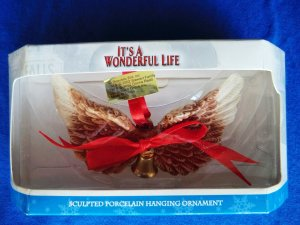 It's a Wonderful Life Rare Ornament ~ Angel WINGS with Bell Porcelain ~ Rare!