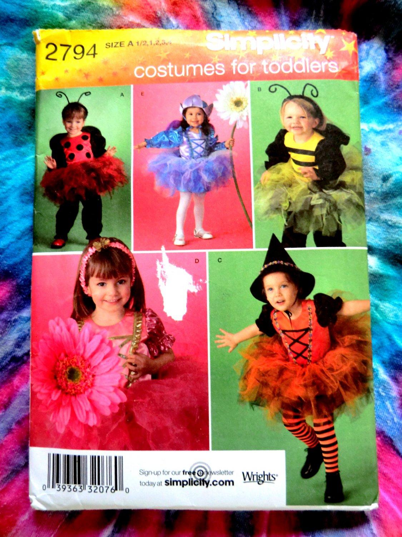 Simplicity Pattern # 2794 UNCUT Girl Toddler Tutu Costume Size ½ 1 2 3 4