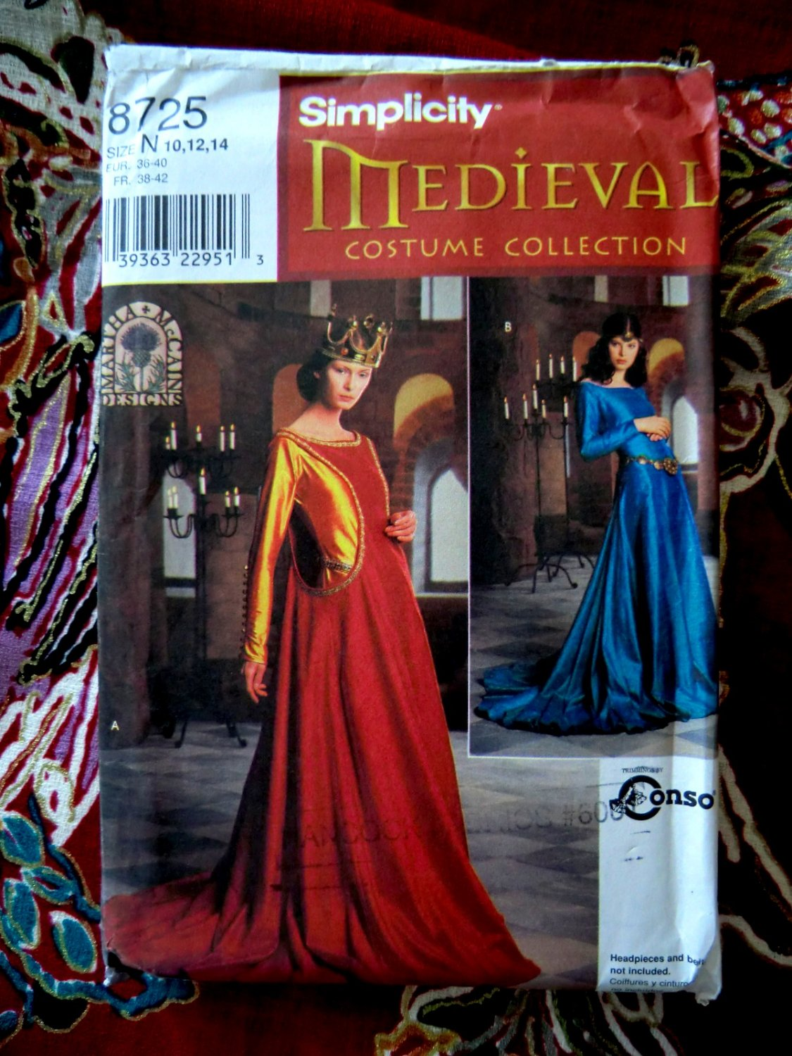 Simplicity Pattern # 8725 UNCUT Misses Costume Medieval Dress Size 10 12 14