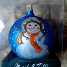 Marshall Fields 2005 Christmas tree Ornament Glass Hand Painted Snowman