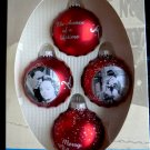 Rare MINT NIB It's A Wonderful Life ~ 4 Red Glass Ornament ~ Enesco