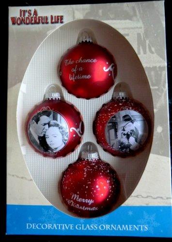 Rare MINT NIB It's A Wonderful Life ~ 4 Red Glass Ornament ~ Enesco