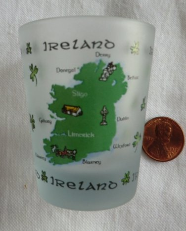 Map of Ireland Frosted Shamrock Shot Glass