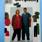 Simplicity Pattern # 8357 UNCUT Misses Mens Unisex Scrubs Size Small Medium Large XL