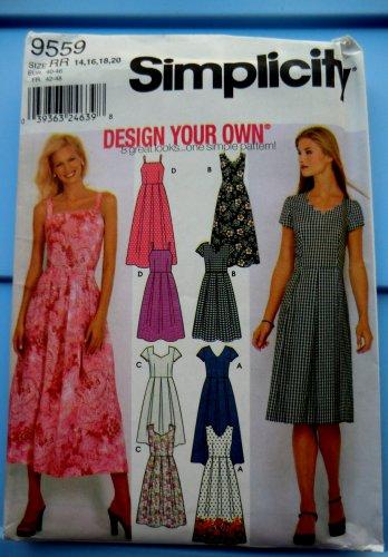 Simplicity Pattern # 9559 UNCUT Misses Summer Dress Neckline Sleeve Variations Size 14 16 18 20